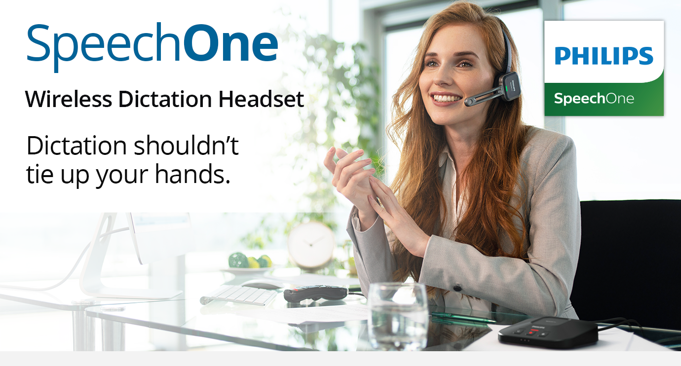 SpeechOne - Wireless Dictation Headset. Dictation shouldn't tie up your hands.